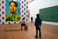Painting of Chairman Mao by Andy Warhol at Hamburger Bahnhof Museum of Contemporary Art in Berlin Germany. A canvas by the American pop artist Andy Warhol of the Chinese communist leader Mao Zedong has sold for £7.6 million - more than 18 times the price paid last time it went to auction. The artist was said to have been inspired to create the iconic series of Chairman Mao paintings by the historic visit of the then US president Richard Nixon to China in 1972. Warhol transformed the official portrait of the Chinese leader, in this case using the red and yellow colour scheme of the Cultural Revolution. It was last sold at auction in June 2000 for just £421,500. The paintings were excluded from a major show of Warhol's work exhibited in China last year.