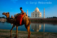Camel and Indian boy beside the river at the Taj Mahal in Agra. An Indian boy with his camel rides on the banks of the Yamuna River with the Taj Mahal in the background. Visiting India's most famous destination; the Taj Mahal in Agra; Uttar Pradesh. The Taj was comissioned by Shah Jahan as a mausoleum for his third wife who died in 1631. Begun in 1632 and completed in 1653; the Taj Mahal is a UNESCO World Heritage Site and considered one of the eight wonders of the world.