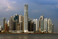 Skyline, Panama City, Panama, Central America. Cinta Costera Pacific Ocean Coastal Beltway Bahia de Panama linear park seawall skyline skyscraper modern. Coastal Beltway (Cinta Costera), Panama City, Panama. Panama City is one city in Central America where congestion has reached crisis point. The city is going through an unprecedented period of stability and investment and there are ample public funds for infrastructure improvement projects. One of the newest road improvement projects is the Coastal Beltway or Cinta Costera (translation means literally 'coastal tape') project. This project intends to decongest the road network of Panama City by providing a bypass route past the city.