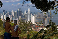 Skyline, Panama City. Cityscape and skyline of Panama City, seen from Cerro Ancon Mountain, Panama, Central America.  Panama, Central America. Cinta Costera Pacific Ocean Coastal Beltway Bahia de Panama linear park seawall skyline skyscraper modern. Coastal Beltway (Cinta Costera), Panama City, Panama. Panama City is one city in Central America where congestion has reached crisis point. The city is going through an unprecedented period of stability and investment and there are ample public funds for infrastructure improvement projects. One of the newest road improvement projects is the Coastal Beltway or Cinta Costera (translation means literally 'coastal tape') project. This project intends to decongest the road network of Panama City by providing a bypass route past the city.
