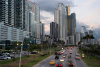 Balboa Avenue skyline skyscraper road seawall new. Skyline, Panama City, Panama, Central America. Cinta Costera Pacific Ocean Coastal Beltway Bahia de Panama linear park seawall skyline skyscraper modern. Coastal Beltway (Cinta Costera), Panama City, Panama. Panama City is one city in Central America where congestion has reached crisis point. The city is going through an unprecedented period of stability and investment and there are ample public funds for infrastructure improvement projects. One of the newest road improvement projects is the Coastal Beltway or Cinta Costera (translation means literally 'coastal tape') project. This project intends to decongest the road network of Panama City by providing a bypass route past the city.