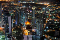 Skyline, Panama City, Panama, Central America by night. Cinta Costera Pacific Ocean Coastal Beltway Bahia de Panama linear park seawall skyline skyscraper modern. Coastal Beltway (Cinta Costera), Panama City, Panama. Panama City is one city in Central America where congestion has reached crisis point. The city is going through an unprecedented period of stability and investment and there are ample public funds for infrastructure improvement projects. One of the newest road improvement projects is the Coastal Beltway or Cinta Costera (translation means literally 'coastal tape') project. This project intends to decongest the road network of Panama City by providing a bypass route past the city.